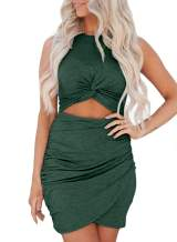FARYSAYS Women's Sexy Hollow Out Twist Knot Bodycon Dress Ruched Wrap Sleeveless Mini Club Dresses