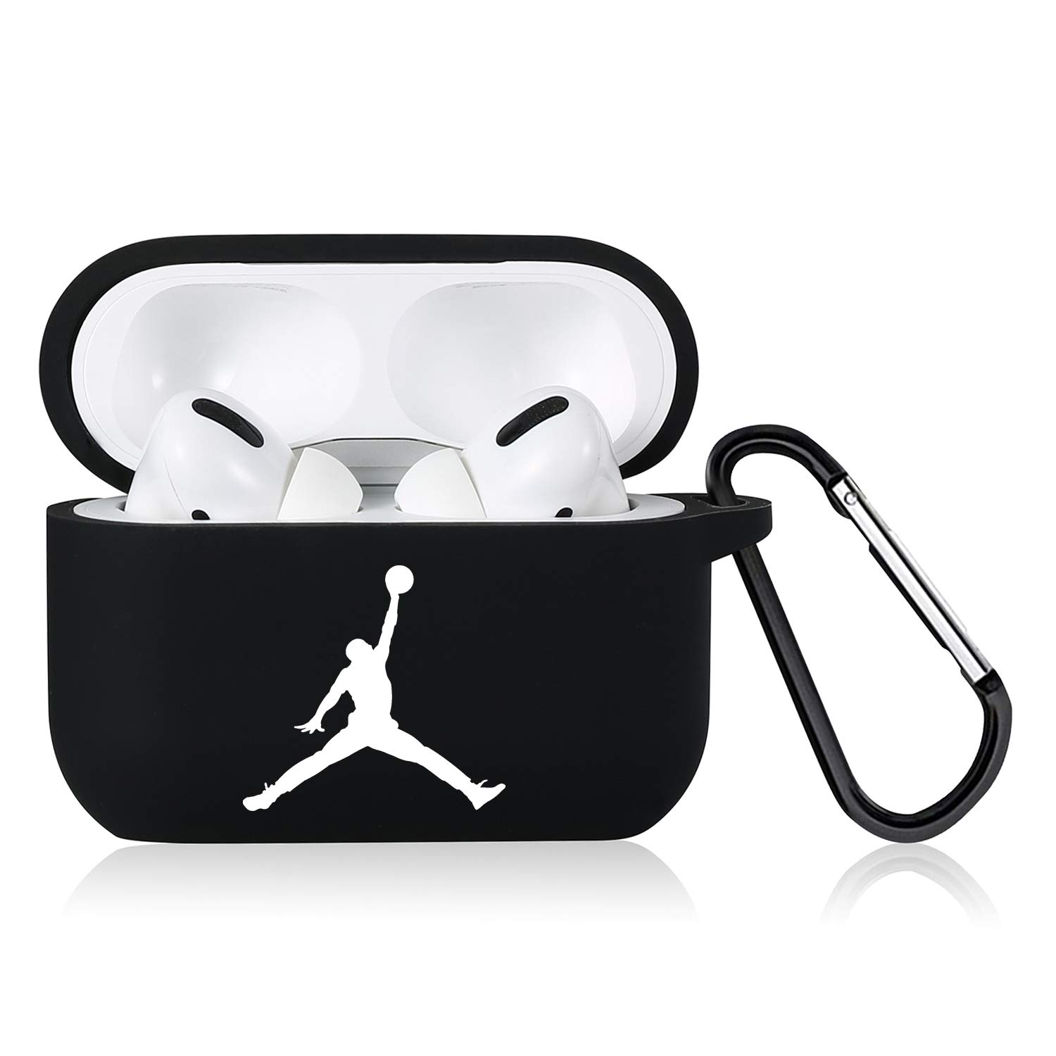 Punswan for Airpods Pro Case,Cute 3D Luxury Character Soft Silicone Stylish Cover, Sport Cool Keychain Style Design Skin,Cases with Lanyard Chain,for Girls Kids Boys Men Air pods Pro/3 (Black Jorda)