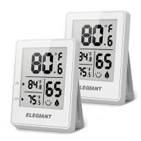 ELEGIANT Digital Hygrometer (2 Pack), Humidity Gauge Mini Indoor Thermometer Accurate Temperature and Humidity Monitor Baby Room Thermometer with Comfort Indicator for Home, Office, Greenhouse, White