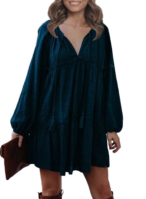 CANIKAT Women's Summer Tunic Dress V Neck Casual Loose Ruffles Swing Shift Mini Dresses