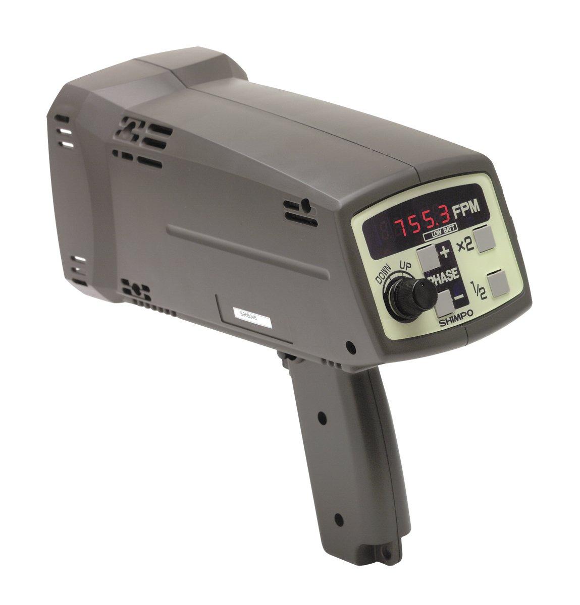 Shimpo DT-725 Internal Battery Powered Digital Stroboscope, 115V AC Charger, +/- 0.02 percent Accuracy, 40.0 - 12500 FPM Range