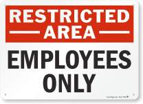 """SmartSign""""Restricted Area - Employees Only"""" Sign   10"""" x 14"""" Aluminum"""