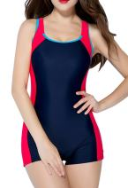 belamo Women's Racerback One Piece Swimsuit Athletic Pro Boyleg Swimwear