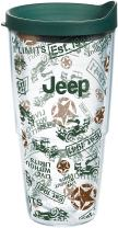 Tervis 1269545 Jeep Brand - All Over Pattern Tumbler with Wrap and Hunter Green Lid 24oz, Clear