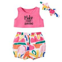 Baby Girl Clothes Sleeveless Letter Print Crop Vest Top and Short Pants Summer Outfits Set