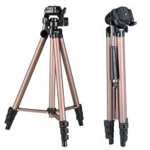 "K&F Concept 49 Inch Aluminum Compact Lightweight Travel Portable Tripod with 3-Way Pan Head + 4 Sections + 1/4"" Quick Release Plate with Carry Bag for DSLR Mirrorless Cameras"