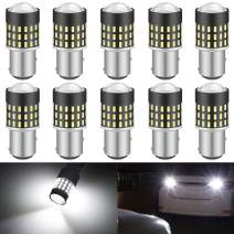 KATUR 1157 BAY15D 1016 1034 7528 Led Light Bulb High Power 3014 54 Chipsets Super Bright 650 Lumens Replace for Turn Signal Back Up Reverse Brake Tail Stop Parking RV Lights,Xenon White(Pack of 10)