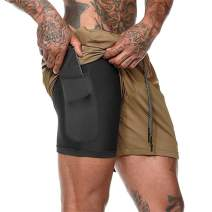 Loozykit Men's 2-in-1 Running Shorts Quick Dry Workout Training Shorts Lightweight Double-Layer Gym Pants with Pockets