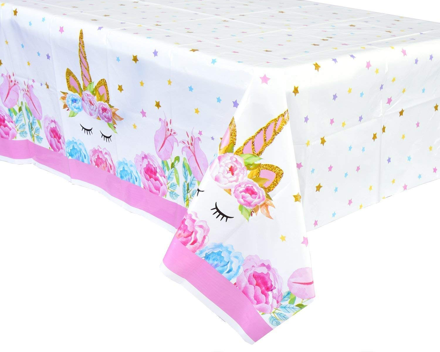 FZR Legend [Upgraded] Unicorn Birthday Party Supplies - 2 Pack Unicorn Plastic Tablecloth | 52 x 90 inches,Disposable Table Cover | Magical Unicorn Themed Party Decorations for Girls and Baby Shower