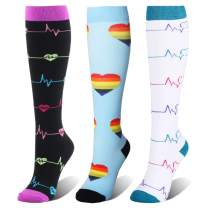 3 Pairs Compression Socks for Women & Men, 20-25mmHg, Best for Nurse, Athletic, Running, Travel, Edema, Diabetic