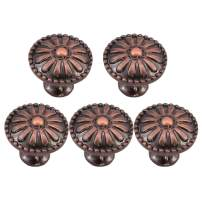 uxcell 5pcs Drawer Knobs Zinc Alloy 24mm Metal Round Knobs Pull Handle for Furniture Cabinet Cupboard Wardrobe Dresser Door Copper