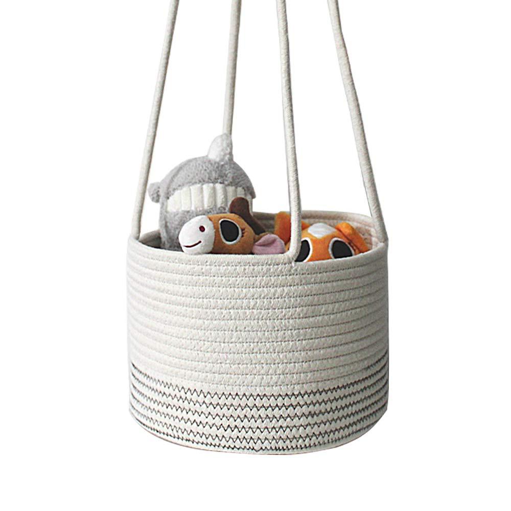 Hanging Storage Basket,Small Cute Cotton Rope Changing Basket,Baby Nursery Organizer for Toy Storage Bin,Woven Planter Basket,10 x 10 x 7 Inch