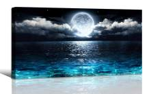 Wall Art Moon Sea Ocean Landscape Picture Canvas Wall Art Print Paintings Modern Artwork for Living Room Wall Decor and Home Décor Framed Ready to Hang,1inch Thick Frame, Waterproof Artwork.