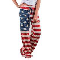 iCJJL Women's Comfy Casual Pajama Pants, Floral Print Drawstring Palazzo Lounge Pants Wide Leg PJ Pants