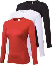 Lavento Women's 3 Pack Compression Shirts Long Sleeve Workout Shirts