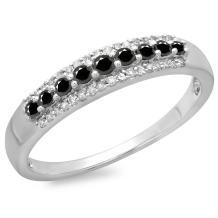 0.40 Carat (ctw) 14K Gold Round Black & White Diamond Ladies Anniversary Wedding Band Stackable Ring