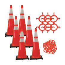 Mr. Chain Traffic Cone and Chain Kit, Traffic Orange with Reflective Collars, 36-Inch Height (97280-6)