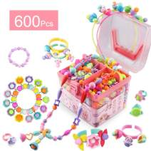 Girls Toys Age 3 4 5 Pop Beads 600 Pcs Jewelry Making Gifts Arts and Crafts for Kids Necklace and Bracelet and Ring Creativity DIY Set