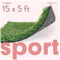 MEGAGRASS Premium Synthetic Turf for Sports - Deluxe Artificial Grass [Indoor and Outdoor Athletic Mat for Agility Training, Fake Grass for Large Football Fields, Pets, Dogs, Puppy Potty Rugs]