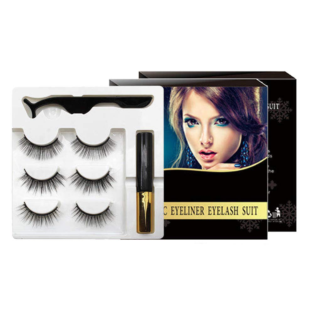 Magnetic Eyeliner Lashes Kit - 3 Pair Magnetic Eyeliner for Magnetic Lashes Set, Reusable False Lashes Different Style with Tweezers