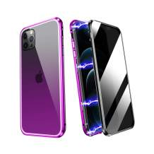 ZHIKE iPhone 11 Pro Case, Anti Peeping Magnetic Double Side Privacy Tempered Glass Full Screen Coverage Anti-Slip Design Gradient Color Cover (Anti-Spy, Purple-Black)