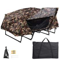 Yescom Double Tent Cot Folding Portable Waterproof Camping Hiking Bed for 2 Person with Rain Fly Bag