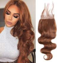 Valentines Day Gifts Aigemei Peruvian Virgin Hair 130% Density Body Wave Medium Brown 4x4 Free Part Lace Closure With Baby Hair(14 Inch,Medium Brown Color 4)
