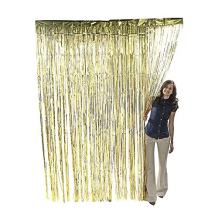 Metallic Gold Foil Fringe Shiny Curtains for Party, Prom, Birthday, Event Decorations 3 foot x 8 foot (1 Curtain)