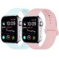 MOOLLY for Watch Band 42mm 44mm, Soft Silicone Watch Strap Replacement Sport Band Compatible with Watch Band Series 5 Series 4 Series 3 Series 2 Series 1 Sport & Edition (42mm 44mm M/L, Light Pink+.)