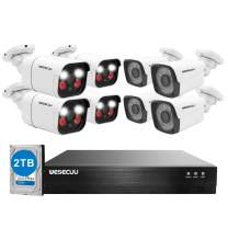 PoE Home Security Camera System,WESECUU 1080P 8CH Surveillance NVR System with 2TB Hard Drive,4PCS Standard Cameras and 4PCS AI Alarm PoE Cameras with Floodlight,Two Way Talk,AI Human Detection,Siren