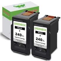 GREENBOX Re-Manufactured 240xl Black Ink Cartridge Replacement for Canon PG-240XL 240 XL CL-241XL 241 XL Canon PIXMA MG3620 TS5120 MX532 MX472 MX452 MG3522 MG2120 MG3520 MG3220 (2 Black)
