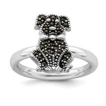 925 Sterling Silver Marcasite Dog Band Ring Stackable Gemstone Fine Jewelry For Women Gift Set