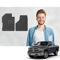 Road Comforts Custom Fit Dodge Ram Floor Mats for 1500/2500/3500 Regular Cab 1994-2012, 1500/2500/3500 Mega Cab 2006-2012 - Protect Floor from Mud, Snow, Slush & Water - Front Row only (Black) (2pcs)