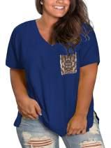 VISLILY Women's Plus Size Tops Leopard Print Short Sleeve V Neck Loose Shirts with Pocket