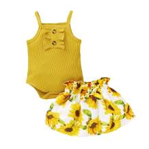 Infant Baby Girls Summer Clothes Newborn Button Halter Romper Floral Skirts with Bowknot 2Pcs Outfit Sets
