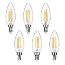 SHINE HAI Candelabra LED Filament Bulbs 40W Equivalent, 2700K Warm White Chandelier B11 LED Bulb E12 Base Non-dimmable Decorative Candle Light Bulb, Pack of 6