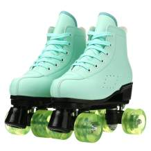 Womens Roller Skates Classic High-top Double-Row Leather Adult Roller Skates Outdoor Four Wheel Double Skates for Girls Unisex