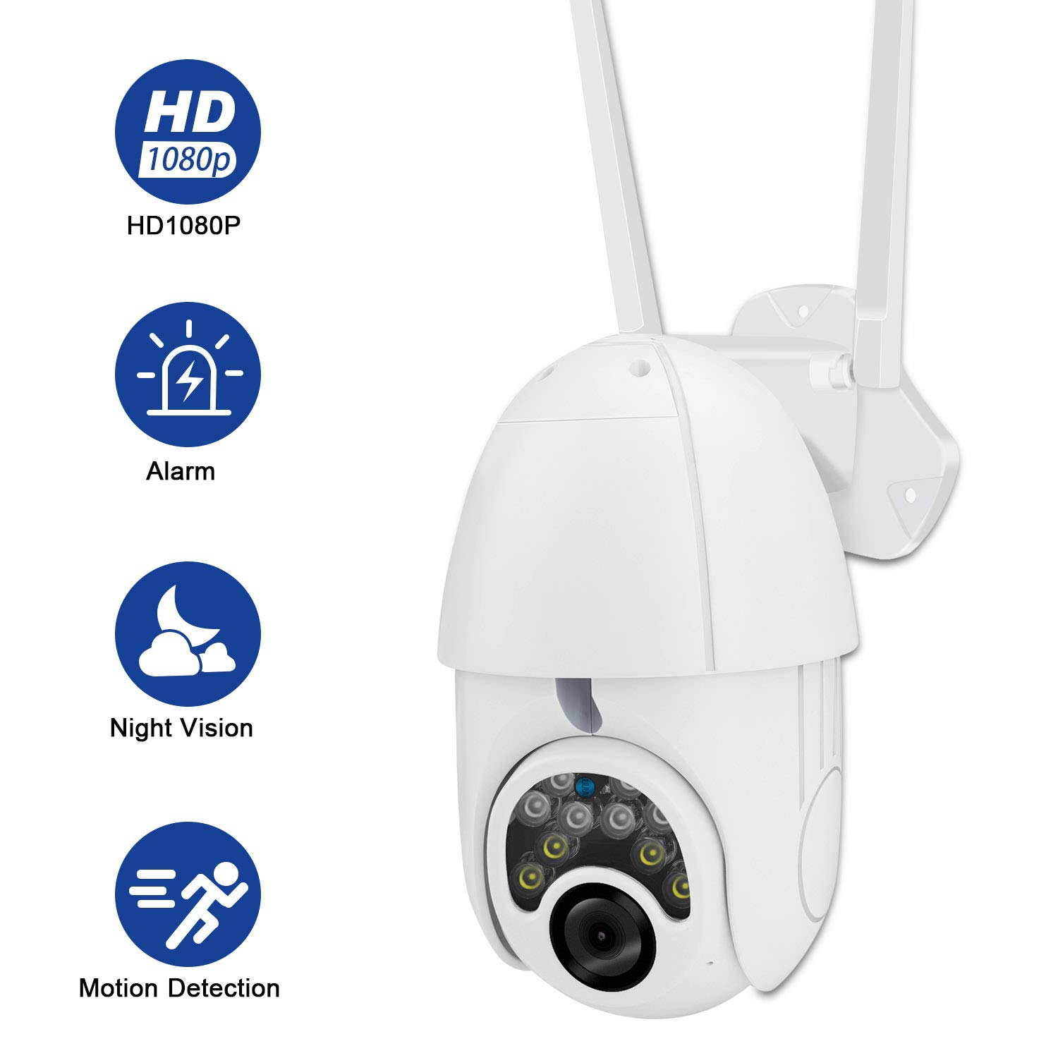 Outdoor PTZ WiFi Wireless IP Home Security Camera 2MP WiFi 1080P IP66 Waterproof HD Night Vision with Motion Sensor 2-Way Audio Support TF Card/Cloud Storage Camera