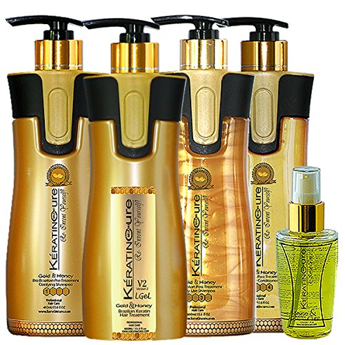 Keratin Cure Best Treatment Gold and Honey V2 Lgel 5 Piece Kit STRONG Intensive Collagen Complex with Argan Oil Nourishing Straightening Damaged Dry Frizzy Coarse Curly African Ethnic Wavy Hair