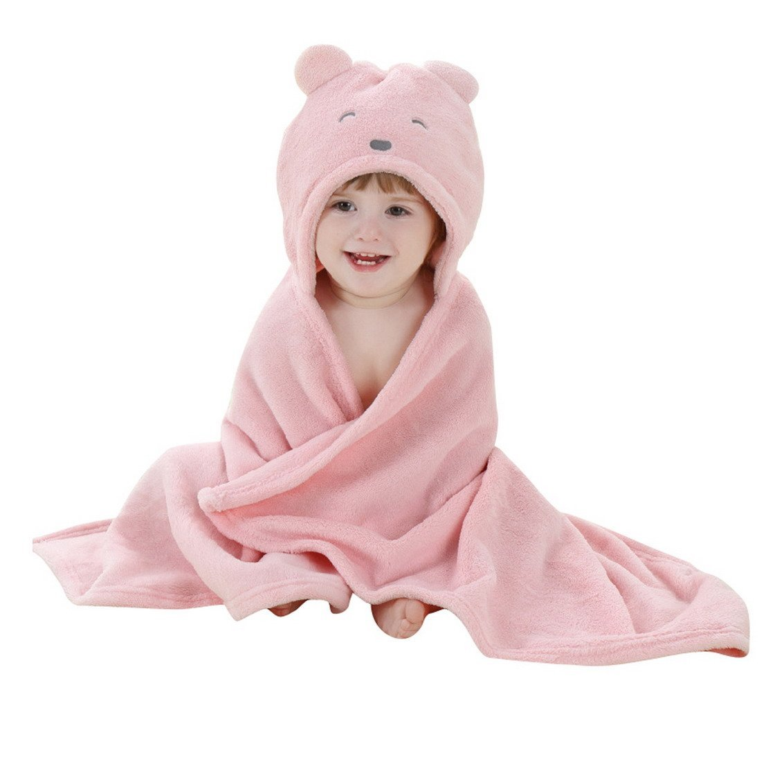 Baby Hooded Bath Towels Animal Bathrobe Fleece Towel Blanket (Pink Bear)