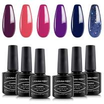 Lagunamoon Gel Nail Polish 6 Colors Red Pink Purple Glitter Blue Gel Polish Soak Off Gel Nail Art Manicure Varnish Set with Gift Box 8ML Each Require Cure Under LED UV Nail Dryer Lamp -Berry Naughty