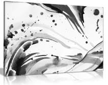 Black & White Abstract Ink Splash Canvas Wall Art Picture Print (24x16)