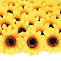 "Mocoosy 100Pcs Artificial Sunflower Heads 2.8"" - Yellow Small Silk Sun Flowers Bulk for Wedding Home Garden Party Decoration Fake Flower Crafts Accessories DIY Decor"