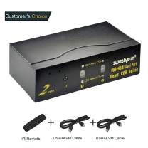 HDMI KVM Switch 2 Port Dual Monitor Extended Display,USB KVM Switch HDMI 4K@30MHz with USB 2.0 Hub and DHCP,Support Auto scan Switch,2 Computers 2 Monitors Keyboard Mouse Switcher