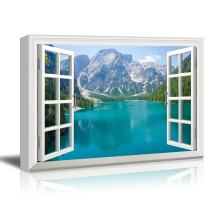 Window View Nature Landscape with Mountains and Blue Lake Gallery 32x48 inches