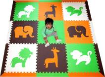 SoftTiles Interlocking Children's Foam Play Mats- Safari Animals Orange, Lime, Brown, and White- Premium Foam Mats for Kids Playrooms and Baby Nursery- Large 6.5 x 6.5 ft.