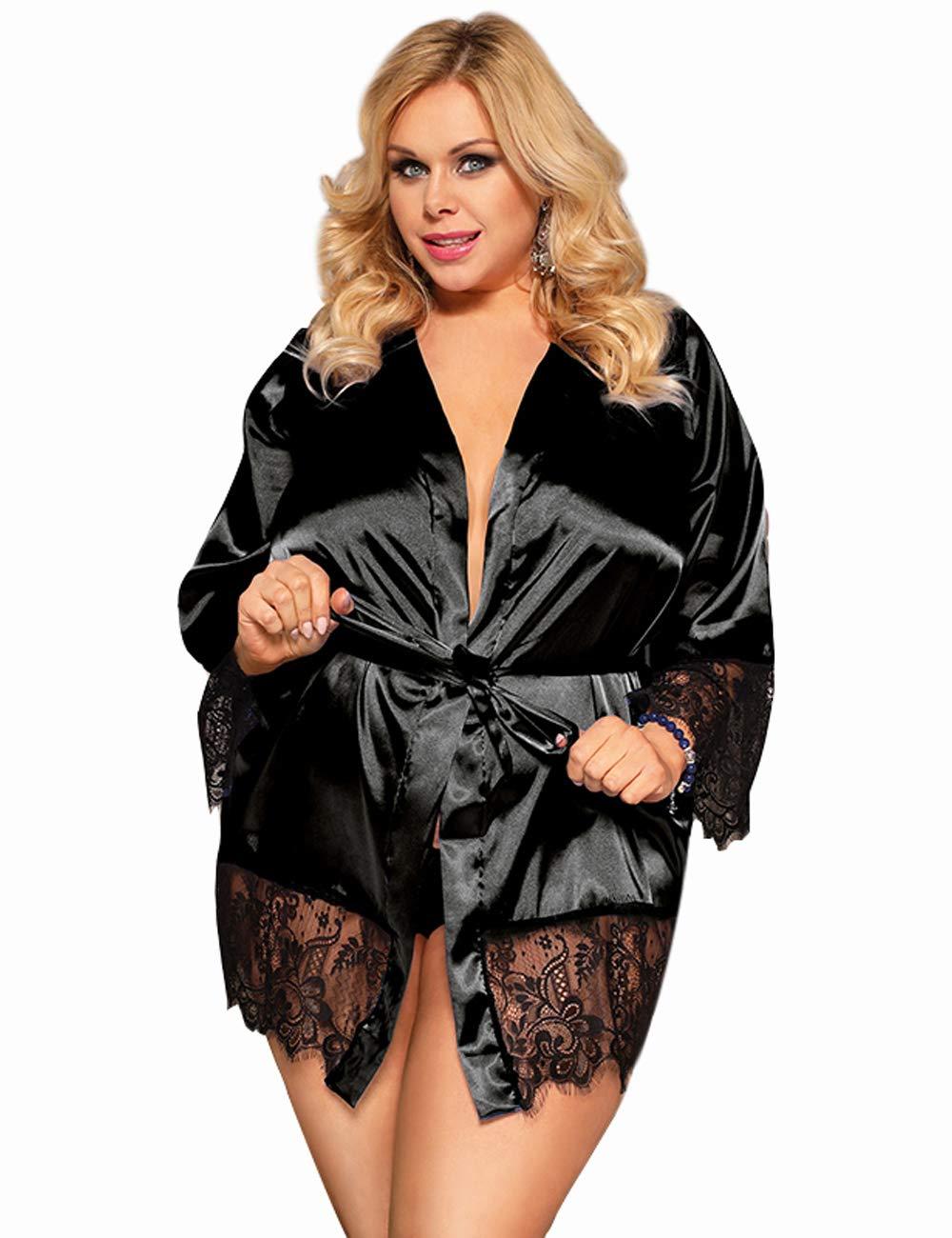ohyeahlady Women's Silk Satin Robe Plus Size Short Kimono Robe Sleepwear with Oblique V-Neck M-5XL