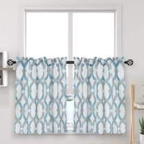 "oremila Tier Curtains for Kitchen Windows Geometric café Curtains, 27"" x 24"" Multi-Color Geometric Printed Half Window Curtain Set for Bathroom Rod Pocket, 1 Pair, Teal/Gray"