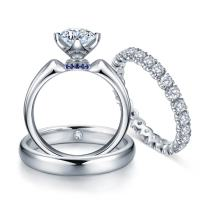 Holy Gorgeous GIA Certificate Natural Diamond Sapphire Gemstone 14k White Gold Bridal Wedding Engagement Women and Men Couple Matching Ring Set (0.599cttw, G-H Color, VS-SI1 Clarity)