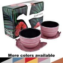 "KIYOSHI Luxury Japanese Cast Iron Tea Cups Set 4 pieces - 2 Large Teacups (4,06Oz) + 2""Leaf Shape"" Saucers - Gift Set - 100% Hand Made (Pink and Silver)"